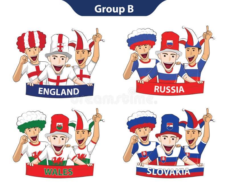 Groepsb Euro 2016 royalty-vrije illustratie