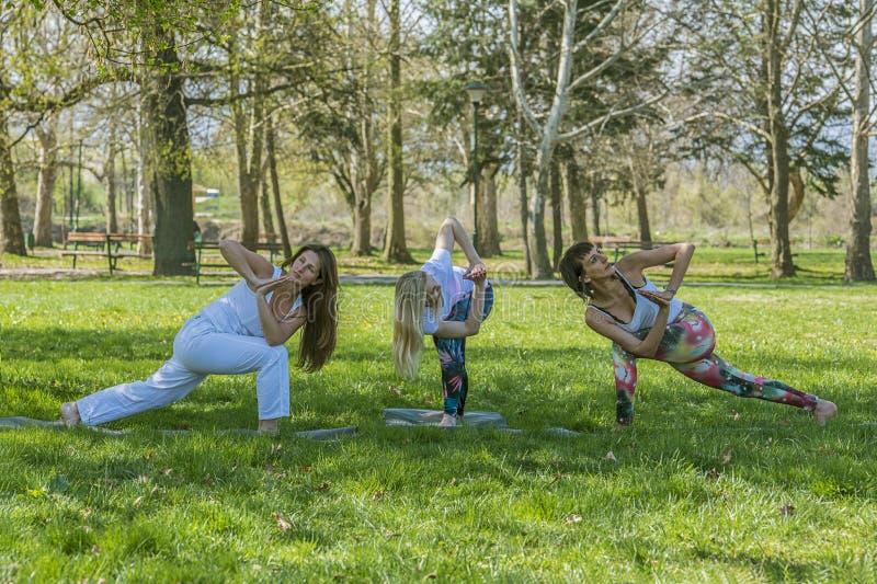 Groepsmeisje die yoga doen stock afbeelding