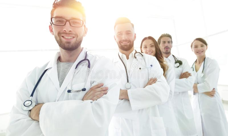 Groepsportret van belangrijke medische beroeps stock afbeeldingen