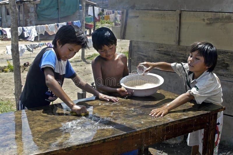Groepsportret van een lijst schoonmakende jongens, Bolivië stock afbeelding