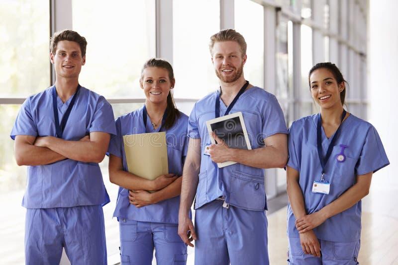 Groepsportret van gezondheidszorgarbeiders in het ziekenhuisgang royalty-vrije stock afbeeldingen