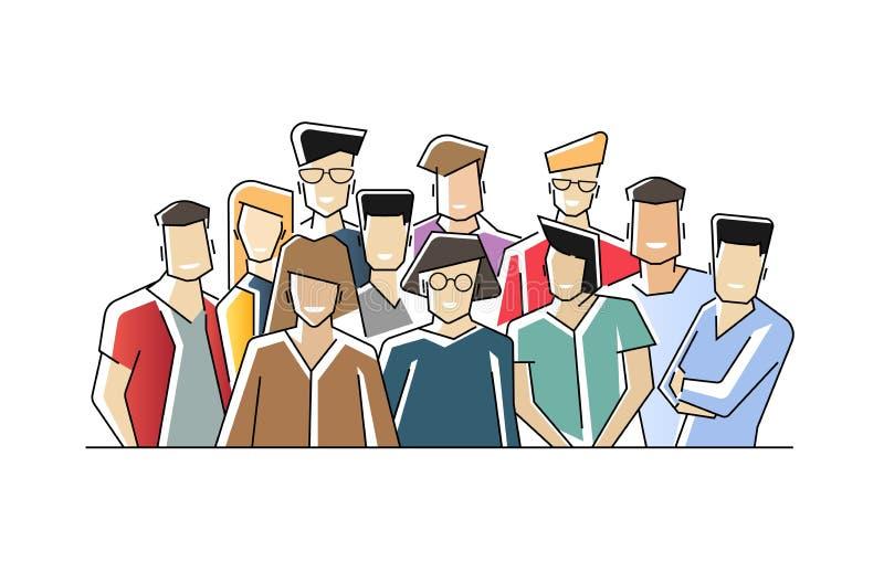 Groepsportret van grappige glimlachende beambten of bedienden die zich verenigen Team van leuk vrolijk mannetje en wijfje vector illustratie