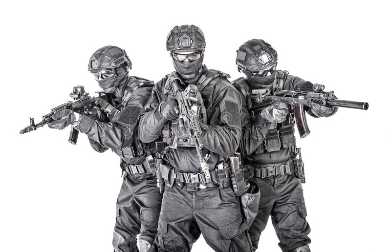 Groepsportret van vechters van politie de speciale krachten stock afbeeldingen