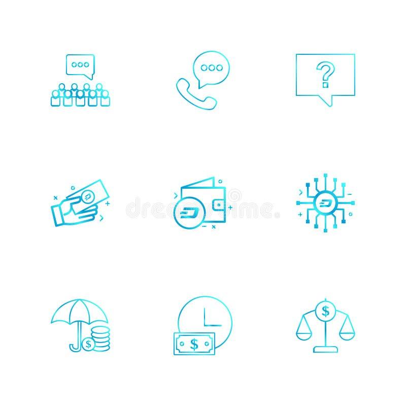 groepspraatje, telefoongesprek, praatje, bericht, geldportefeuille, klok royalty-vrije illustratie