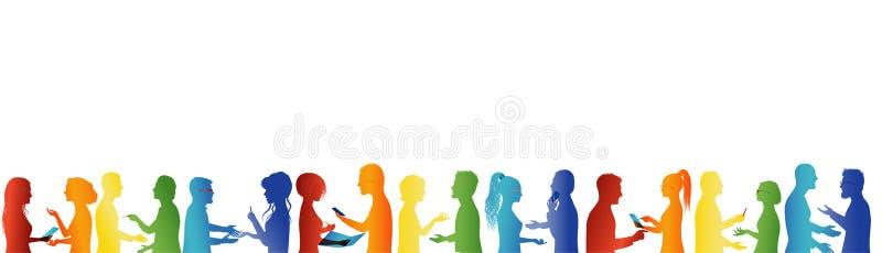 Groepssamenwerking en succes Conceptengroepswerk Het grote groep mensen spreken Bespreking tussen bedrijfsmensen Vergaderingsorga vector illustratie