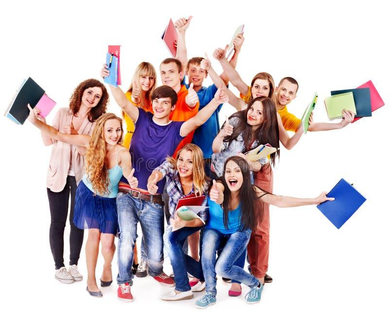 Groepsstudent met notitieboekje. stock foto