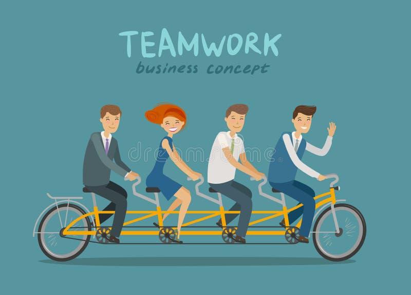 Groepswerk, bedrijfsconcept Bedrijfsmensen of studenten die fiets achter elkaar berijden De vectorillustratie van het beeldverhaa royalty-vrije illustratie
