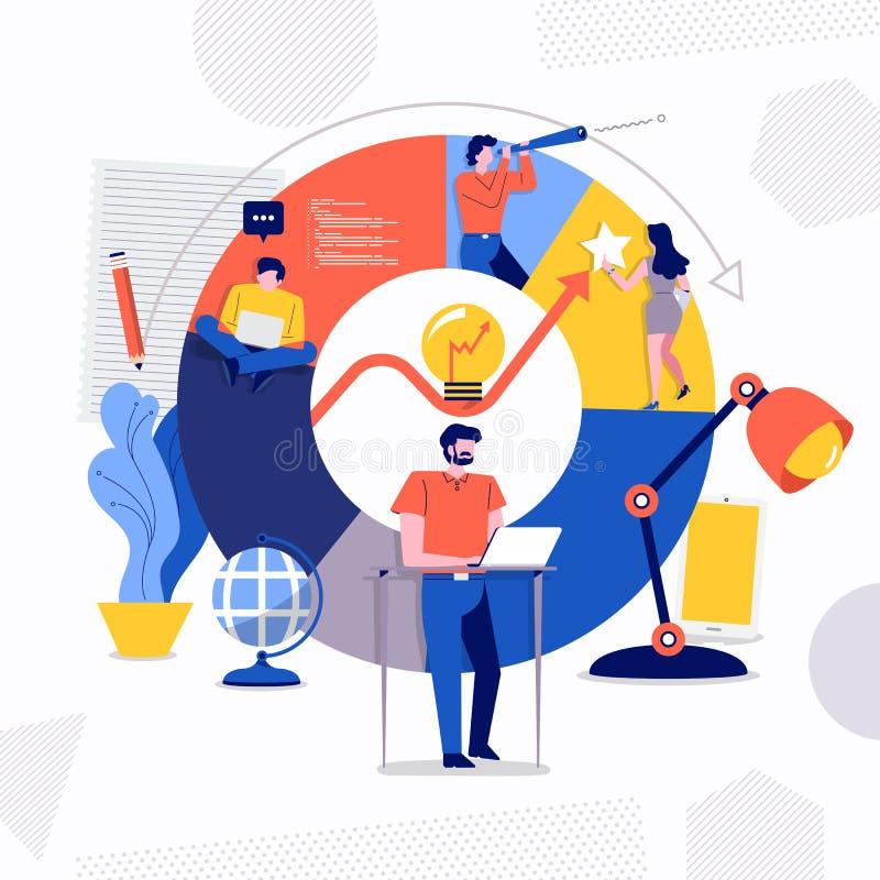 Groepswerk Bedrijfssucces vector illustratie