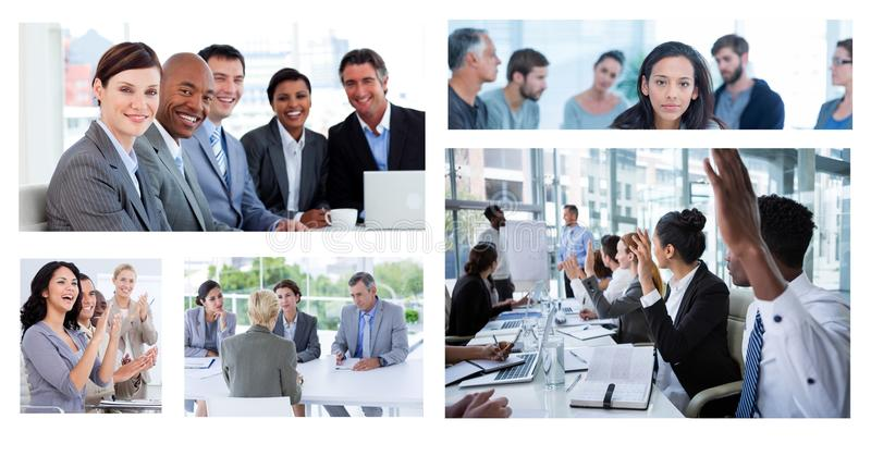 Groepswerk commerciële vergaderingscollage stock foto