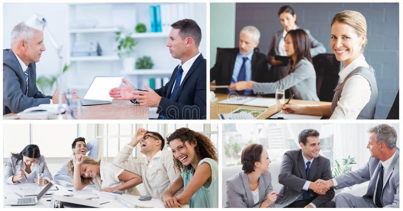 Groepswerk commerciële vergaderingscollage royalty-vrije stock afbeelding