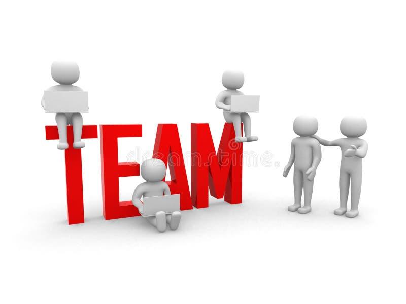 Groepswerk. Conceptuele bedrijfsillustratie. Witte achtergrond. stock illustratie