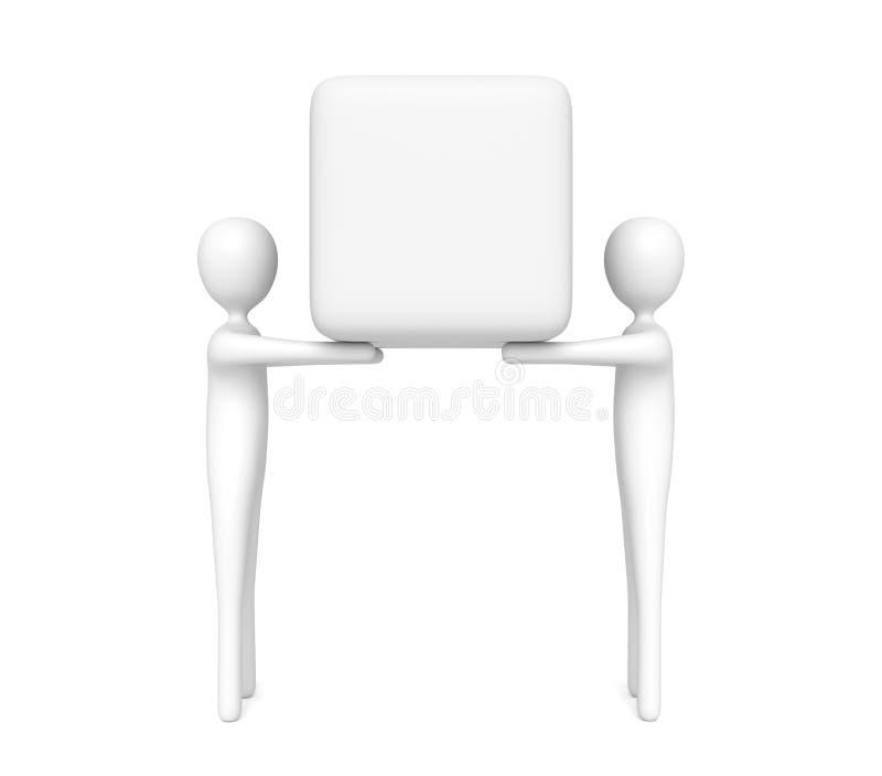 Groepswerk: 3d mensen die een lege kubus, 3d illustratie dragen stock illustratie