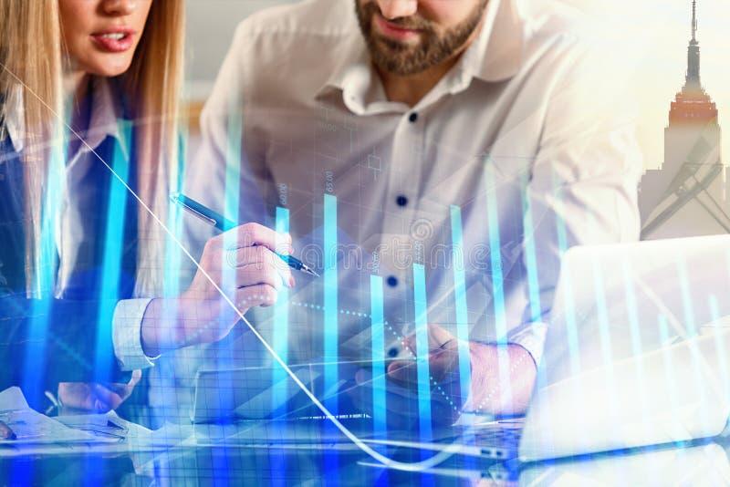 Groepswerk en financiënconcept stock afbeelding