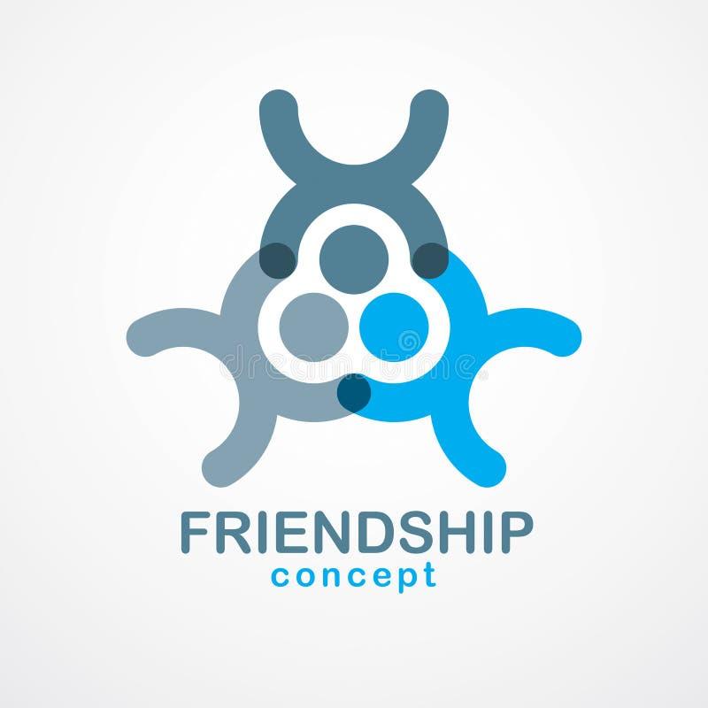 Groepswerk en vriendschapsconcept met eenvoudige geometrische Gr wordt gecreeerd die stock illustratie