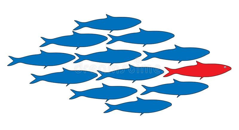 groepswerk, leider, School van vissen vectorillustratie royalty-vrije stock afbeeldingen