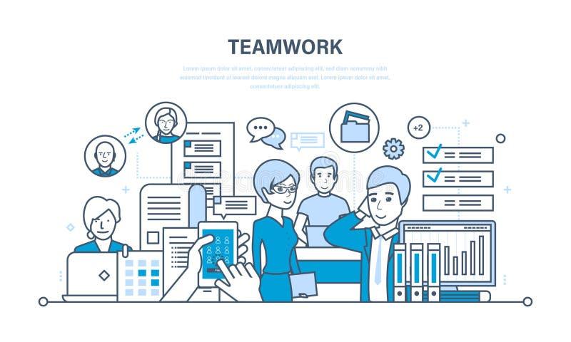 Groepswerk, mededeling en uitwisseling van belangrijke informatie, dialogen, werkschemaruimte stock illustratie