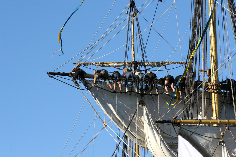 Groepswerk op boot stock afbeelding