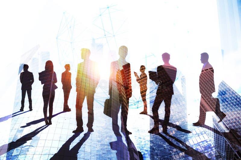 Groepswerk, succes en menigteconcept royalty-vrije illustratie