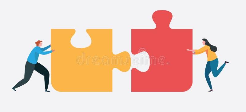 Groepswerk succesvol samen concept marketing inhoud Bedrijfsmensen die het grote puzzelstuk houden Vlak beeldverhaal vector illustratie
