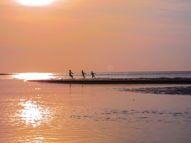 Groepswerk van jonge vissers die bij zonsondergang samenwerken stock fotografie
