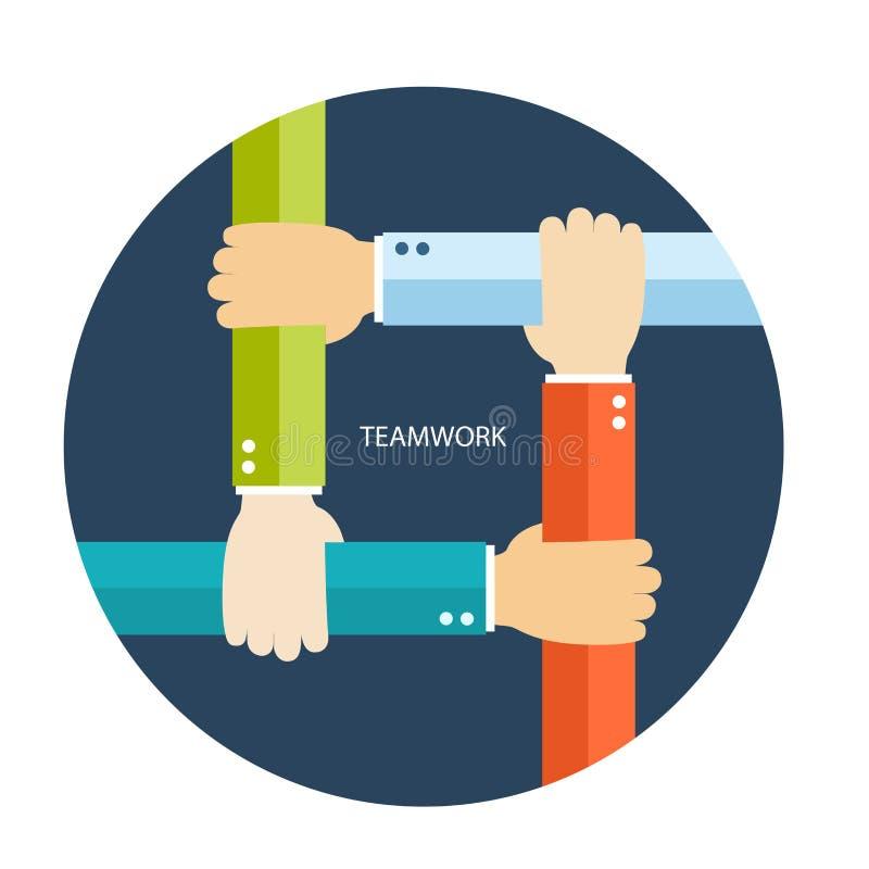 Groepswerk vlakke illustratie met handen stock illustratie