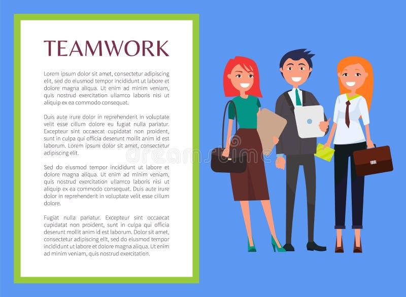Groepswerkbanner met Moderne Jonge Bedrijfsmensen vector illustratie