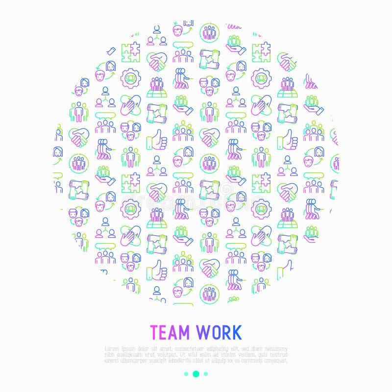 Groepswerkconcept in cirkel met dunne lijnpictogrammen: groep mensen royalty-vrije illustratie