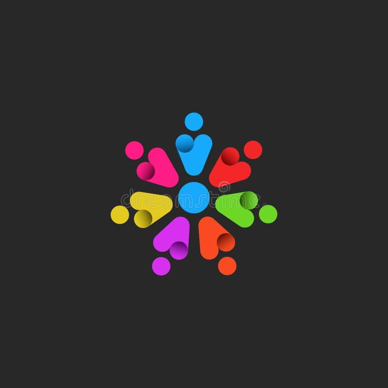 Groepswerkembleem, embleem van een gemeenschap van gemotiveerde succesvolle personen, kleurrijke silhouetten van abstracte mensen royalty-vrije illustratie