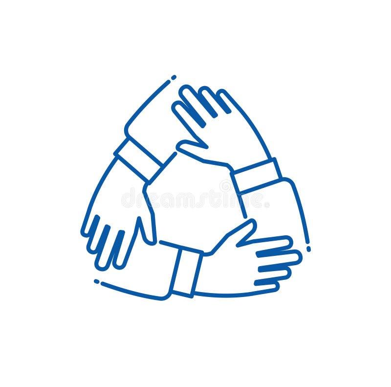 Groepswerkhand Handen op elkaar werkgroep, alliantie ondersteunend team Vennootschap bedrijfs samen eenheidsvector vector illustratie