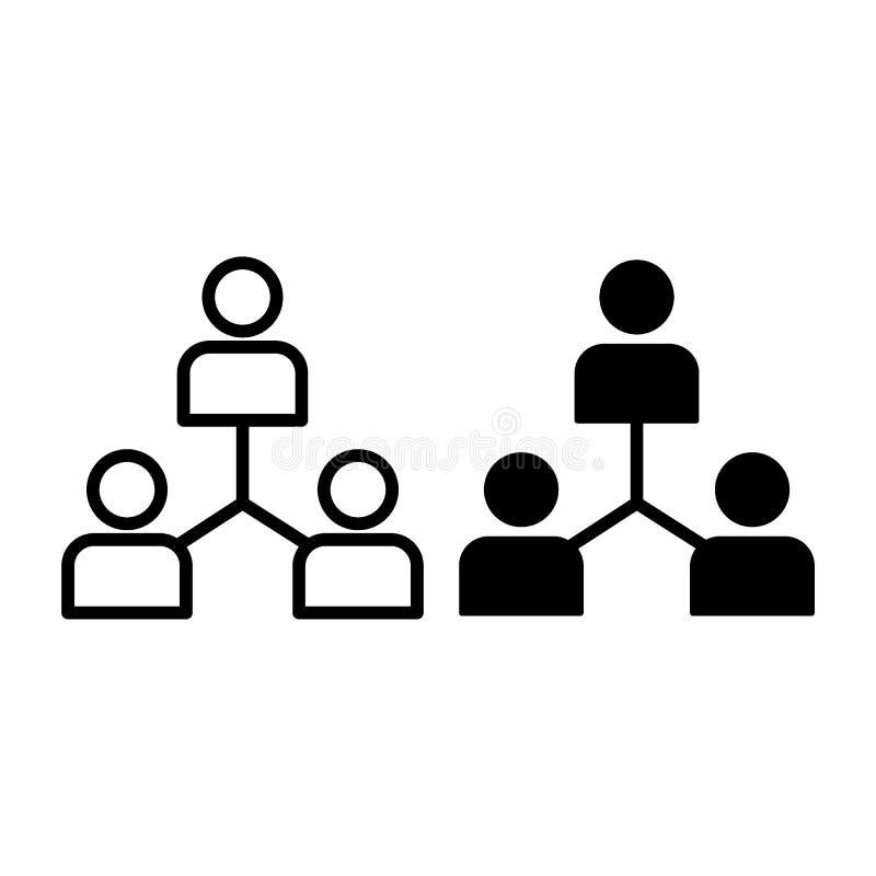 Groepswerklijn en glyph pictogram Groeps vectordieillustratie op wit wordt geïsoleerd De stijlontwerp van het teamoverzicht, voor stock illustratie