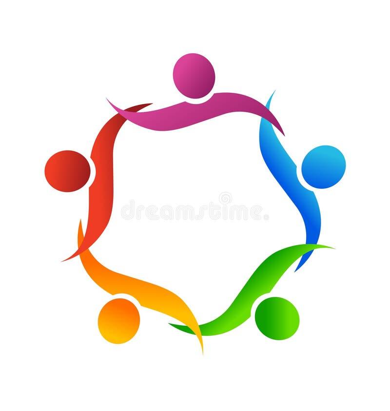 Groepswerkmensen die, pictogramvector elkaar helpen stock illustratie