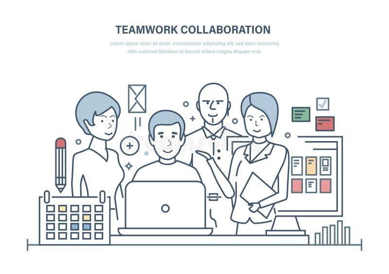 Groepswerksamenwerking, samenwerking, vennootschappen Het groepswerk samen complexe werk met collega's royalty-vrije illustratie