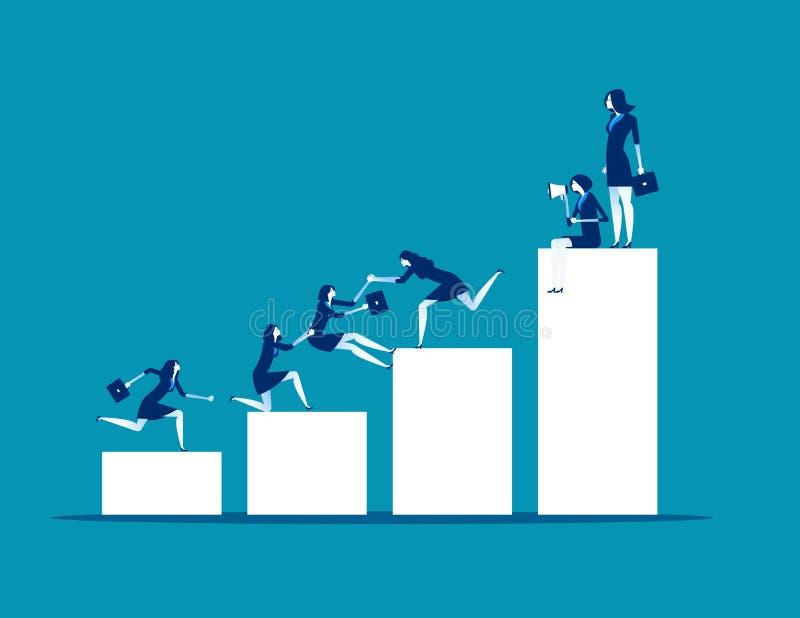 Groepswerksucces De bedrijfsmensen helpen collega's, Concepten bedrijfs vectorillustratie, Vlak bedrijfsbeeldverhaalontwerp, Recl stock illustratie