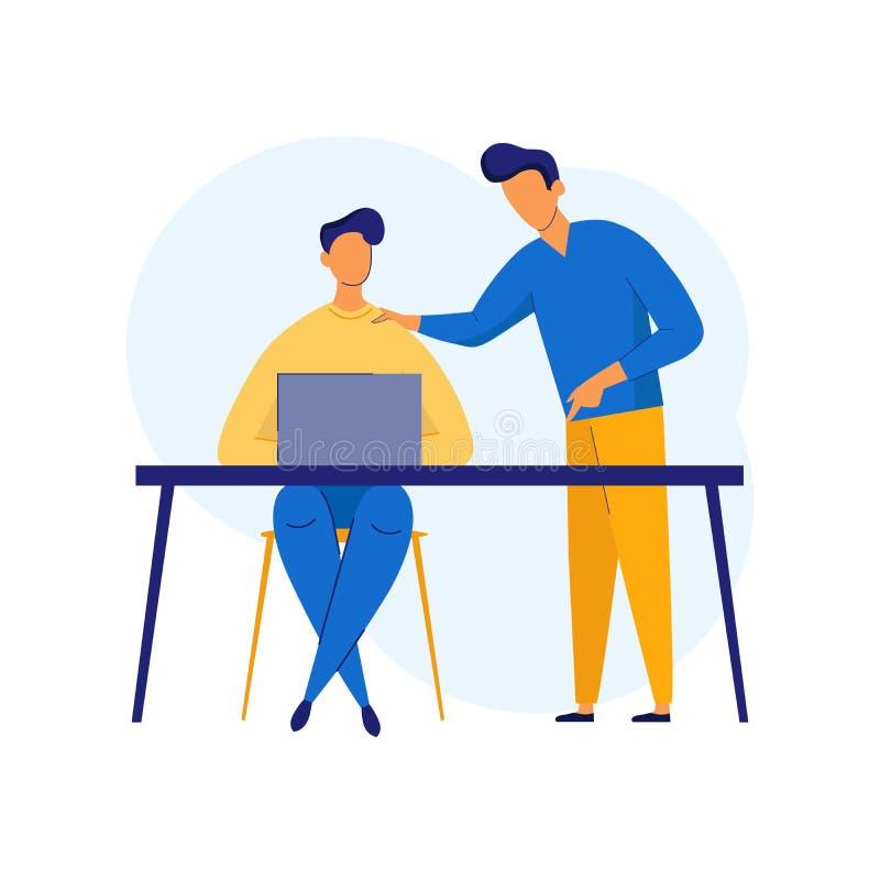 Groepswerkvergadering, besprekingsconcept, analyse, bedrijfsinhoudsstrategie, beheer voor banner en website Vector vector illustratie