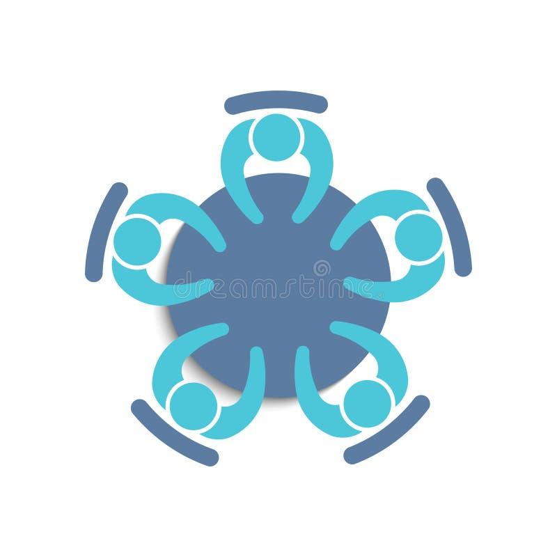 Groepswerkvergadering van vijf mensenembleem vector illustratie