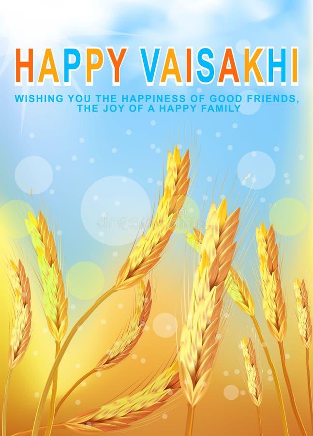 Groetachtergrond met tarwegebied voor Punjabi-oogstfestival Vaisakhi Baisakhi Vector illustratie vector illustratie