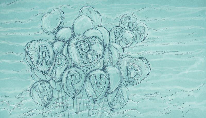 Groetballons met antieke basis vector illustratie
