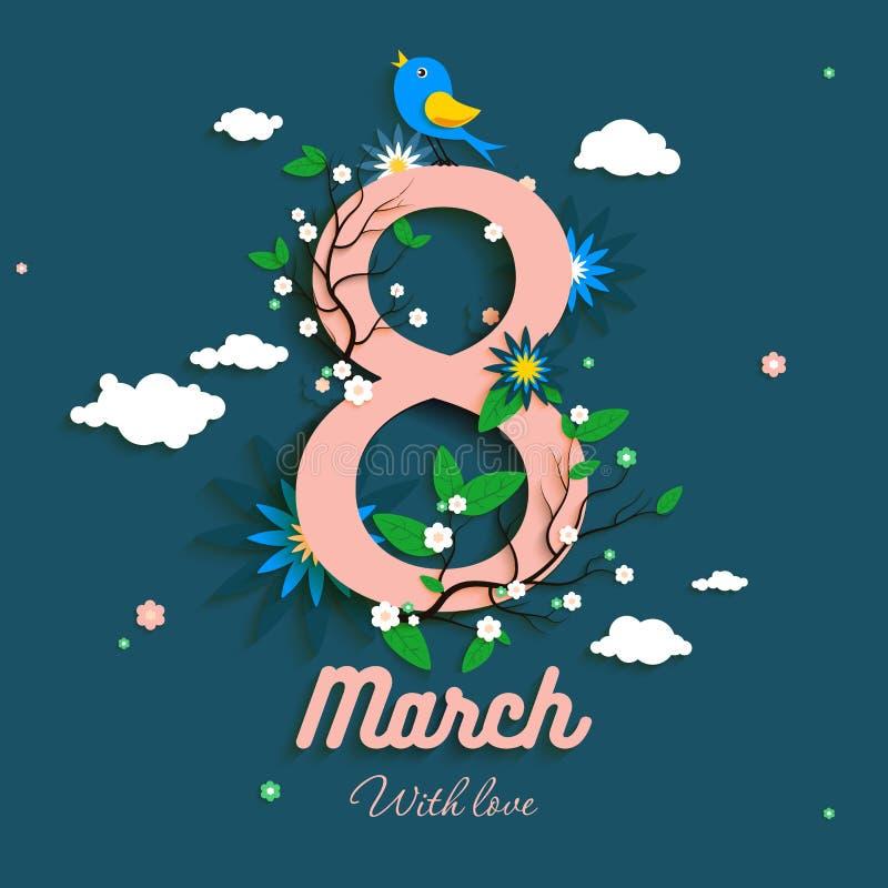 Groetbeeld vanaf 8 Maart met bloeiende installaties en het zingen vogel vector illustratie