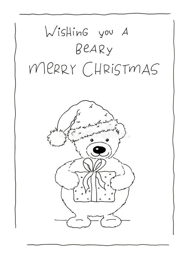 Groeten van Beary de vrolijke Kerstmis royalty-vrije illustratie