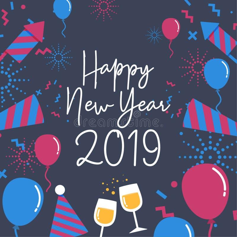 Groeten van het pret de Gelukkige Nieuwjaar stock illustratie