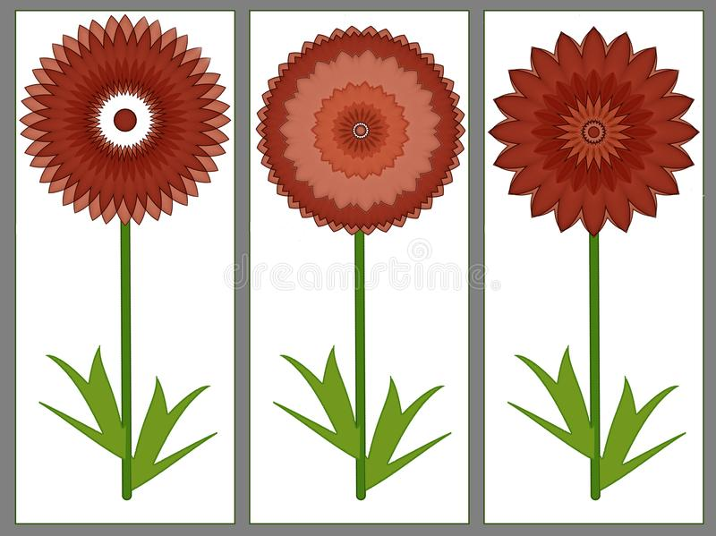Groetenkaart met drie rode de zomerbloemen vector illustratie
