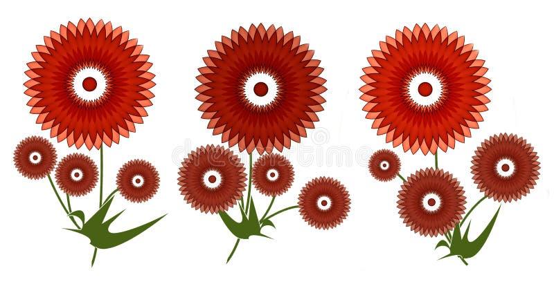 Groetenkaart met rode de zomerbloemen vector illustratie