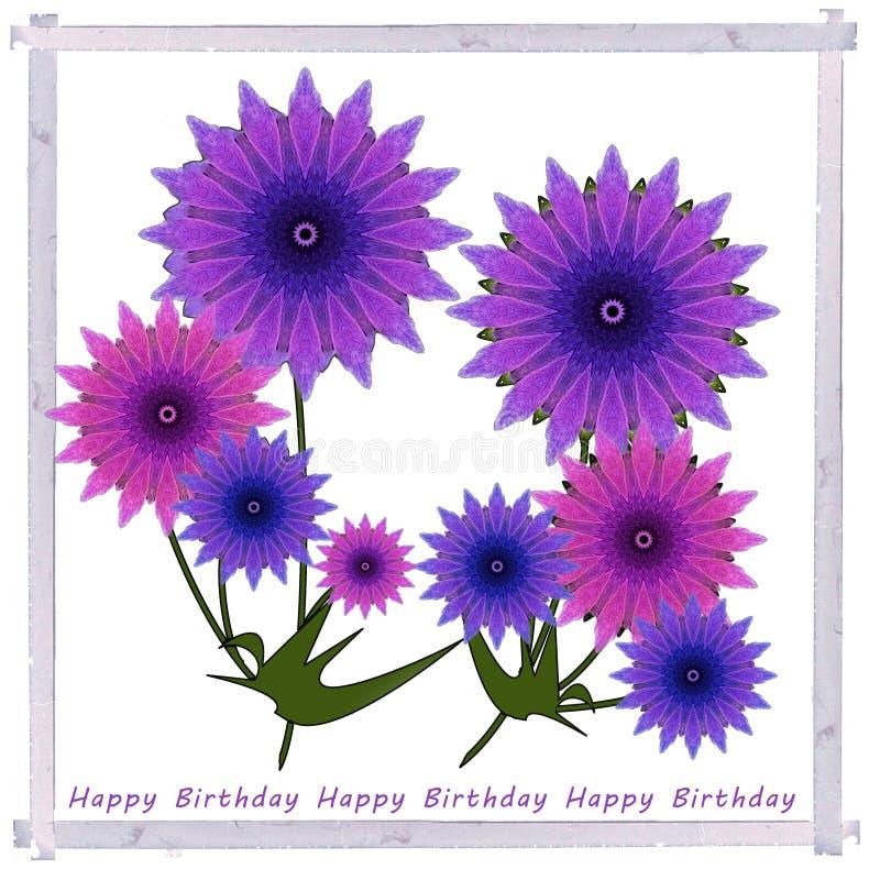 Groetenkaart met violette de zomerbloemen in uitstekend kader vector illustratie