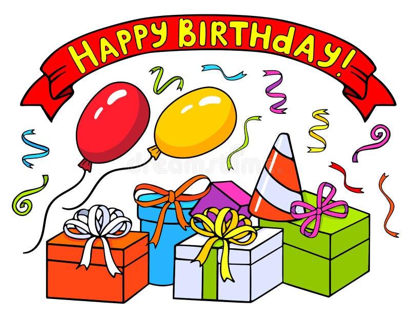 Groetenlint met het gelukkige de verjaardag ` van ` hand getrokken van letters voorzien, ballons Giftdozen en confettien royalty-vrije illustratie