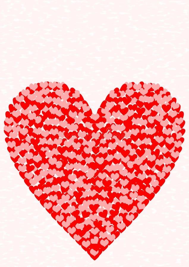 Groetkaart één groot hartpatroon stock illustratie