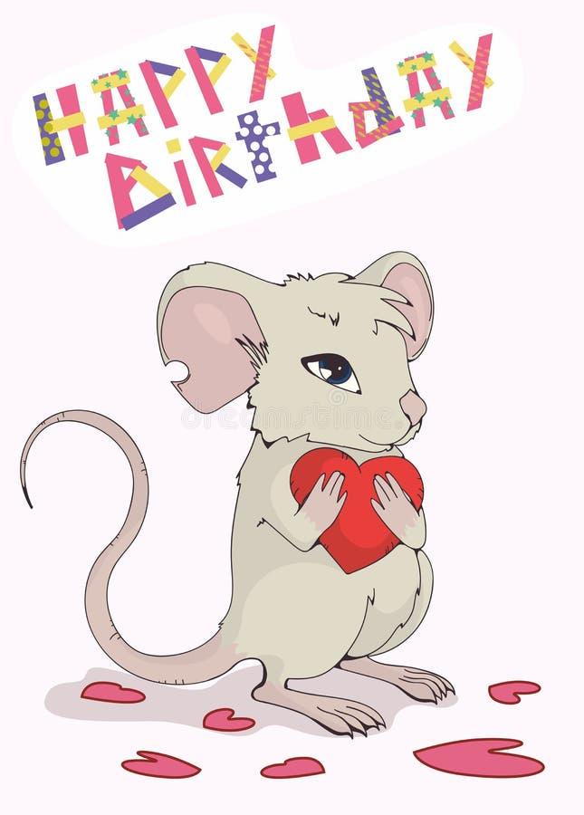 Groetkaart 'Gelukkige verjaardag ' Leuke muis die liefde en hart geven royalty-vrije illustratie