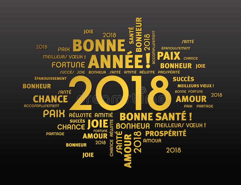 Groetkaart 2018 in Franse taal stock illustratie