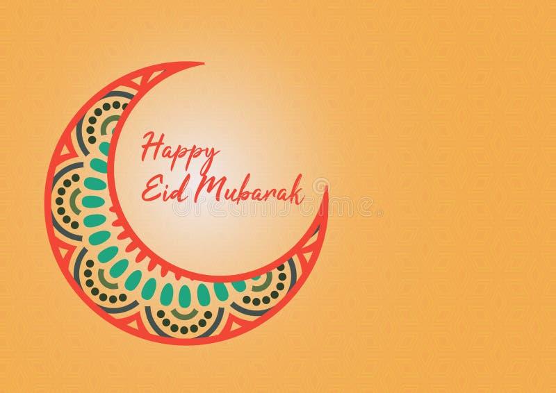 Groetkaart Gelukkig Eid Mubarak With Gradient Style, Islamitische Ornamentachtergrond en Crescent Islamic Pattern stock illustratie