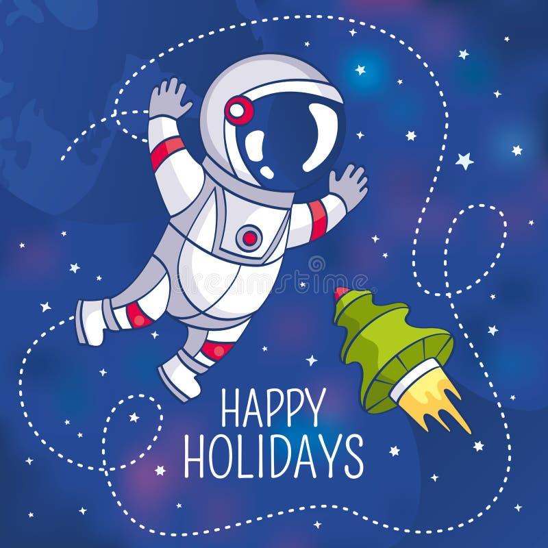 Groetkaart met astronaut vector illustratie