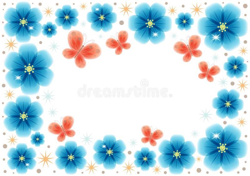 Groetkaart met blauwe abstracte bloemen met plaats voor tekst royalty-vrije illustratie
